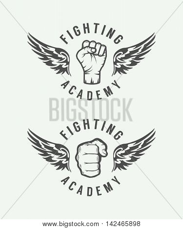 Set of vintage mixed martial arts or fighting club logos emblems badges labels marks and design elements. Retro graphic art. Vector Illustration.