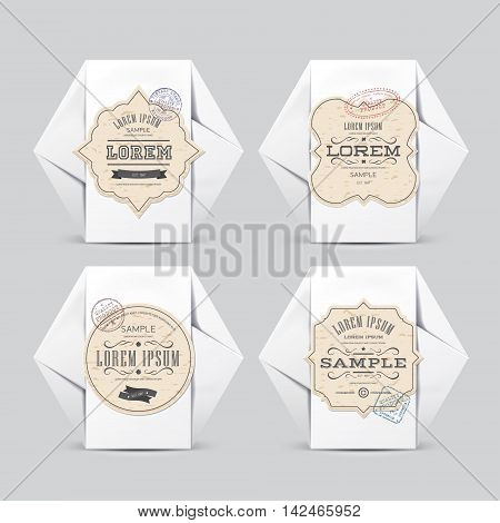 Vintage labels on White Paper Box. For Your Design. Product Packing 100% quality