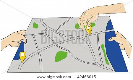 man's hand puts waypoint on the map. traffic route on the map. vector illustration.