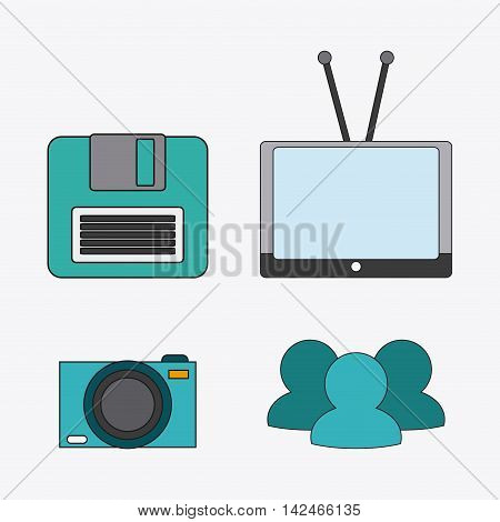 tv camera diskette connect communicaitons social network icon. colorful illustration