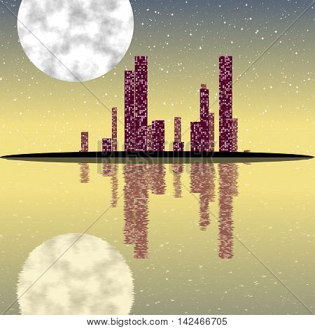 Night cityscape generated texture with moon on sky