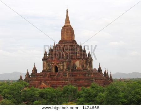 Detail Of A Buddhist Paya In Red Rocks, Bagan, Myanmar