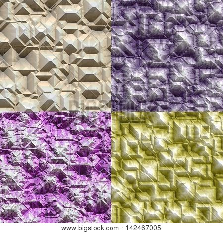 Set of stone blocks seamless generated textures, 3D illustration