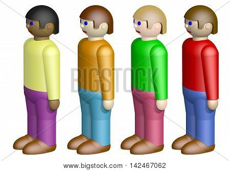 Toy nationalities isolated on white background, 3D illustration