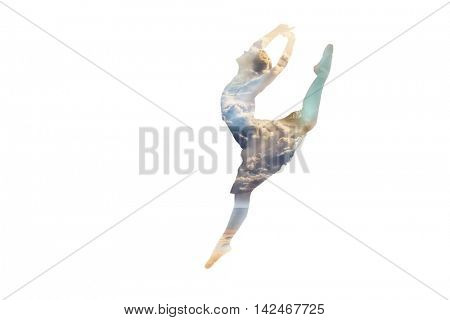 ballerina in a jump double exposure nature concept