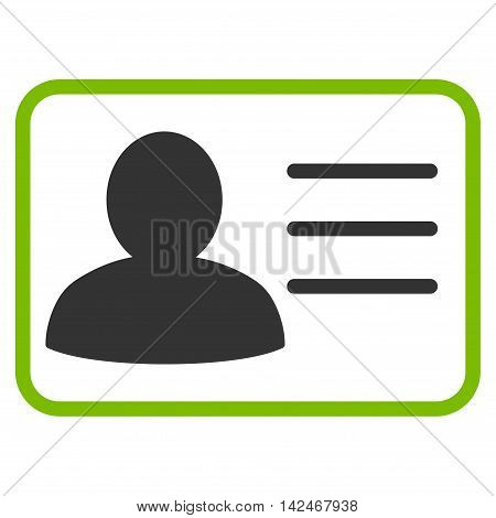 Account Card icon. Glyph style is bicolor flat iconic symbol with rounded angles, eco green and gray colors, white background.