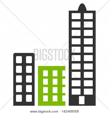 City icon. Glyph style is bicolor flat iconic symbol with rounded angles, eco green and gray colors, white background.