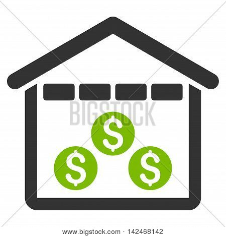 Money Depository icon. Glyph style is bicolor flat iconic symbol with rounded angles, eco green and gray colors, white background.