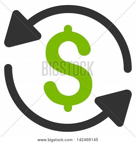 Money Turnover icon. Glyph style is bicolor flat iconic symbol with rounded angles, eco green and gray colors, white background.