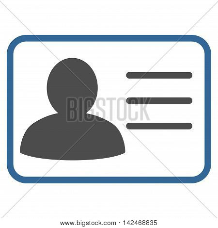 Account Card icon. Vector style is bicolor flat iconic symbol with rounded angles, cobalt and gray colors, white background.