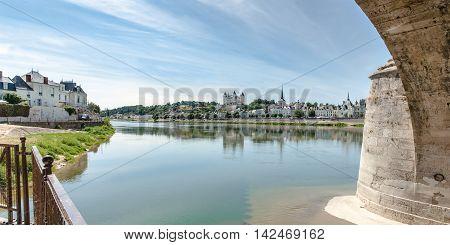 Castle of Saumur and Loire river Maine-et-Loire department (France)