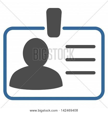 Personal Badge icon. Vector style is bicolor flat iconic symbol with rounded angles, cobalt and gray colors, white background.