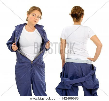 Photo of a woman posing with a blank white t-shirt and wearing overalls ready for your artwork or design.