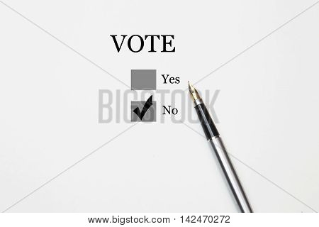 Voting yes or no check-box with fountain pen no marked with V