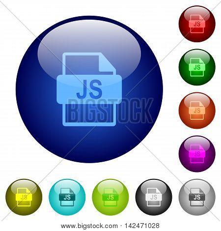 Set of color JS file format glass web buttons.
