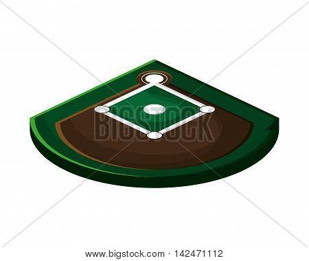 flat design baseball field icon vector illustration