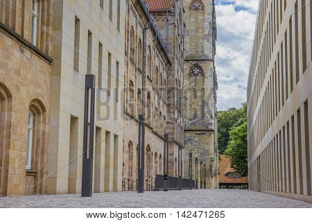 Street Leading To The  Liebfrauenkirche Church In Munster