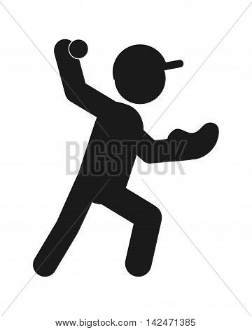 flat design baseball pictogram icon vector illustration