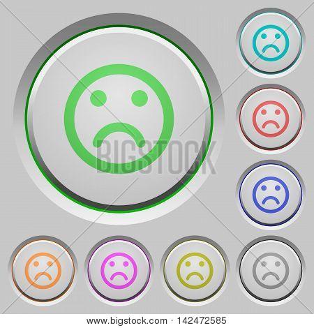 Set of color Sad emoticon sunk push buttons.