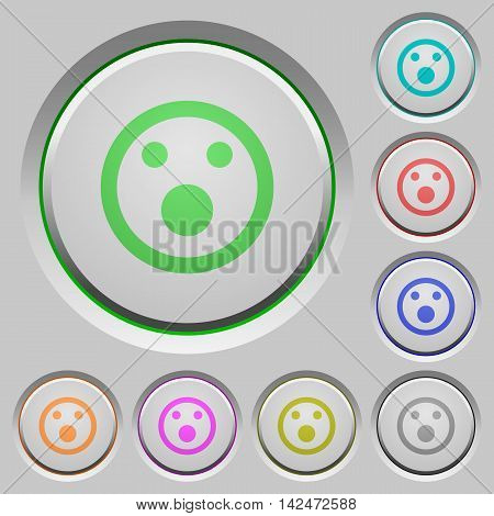 Set of color Shocked emoticon sunk push buttons.