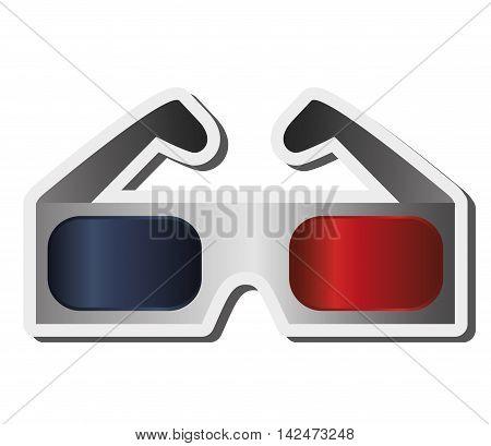 flat design 3d glasses icon vector illustration