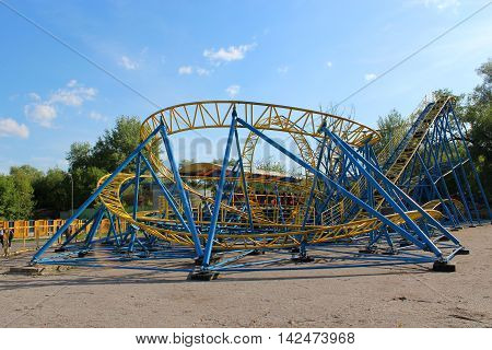small attraction small roller-coaster in Chernihiv town