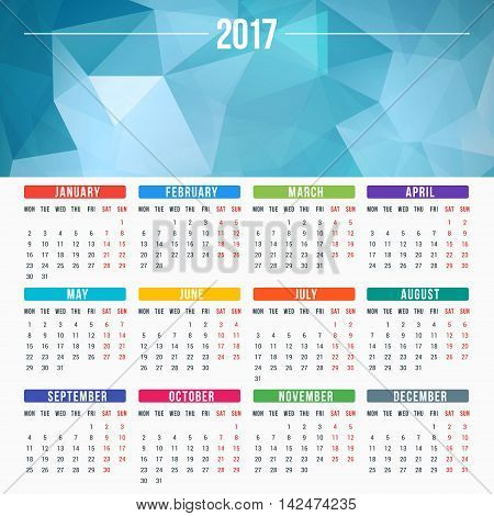 Calendar For 2017 Year. Vector Design Stationery Template. Week Starts Monday. Flat Style Color Vect