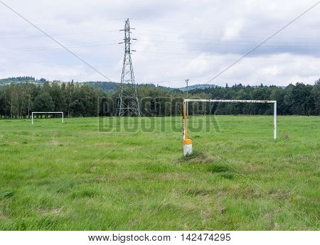 Soccer Field In Front of Power Pole Forest And Hills Jelenia Gora Poland