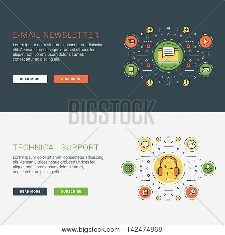 Set Of Flat Line Business Website Banner Templates. Vector Illustration. Modern Thin Line Icons In C