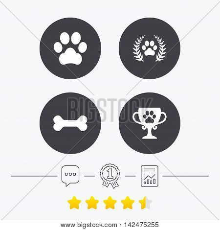 Pets icons. Dog paw sign. Winner laurel wreath and cup symbol. Pets food. Chat, award medal and report linear icons. Star vote ranking. Vector
