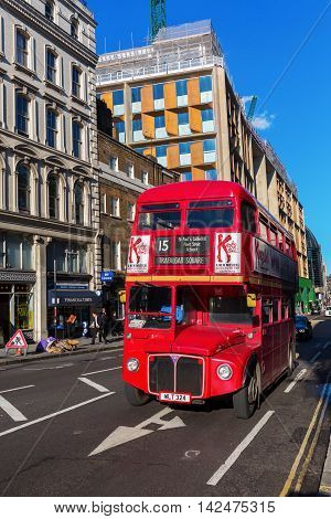 Old Routemaster Double Decker Bus In London, Uk