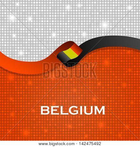 Belgium Flag Ribbon Shiny Particle Style. Vector Illustration