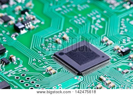 A microcontroller on an electronic chip board