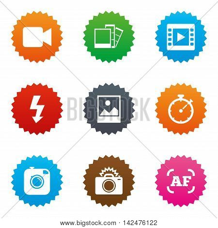 Photo, video icons. Camera, photos and frame signs. Flash, timer and landscape symbols. Stars label button with flat icons. Vector