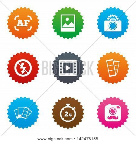 Photo, video icons. Camera, photos and frame signs. No flash, timer and strips symbols. Stars label button with flat icons. Vector