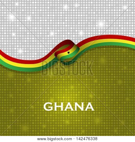 Ghana Flag Ribbon Shiny Particle Style. Vector Illustration