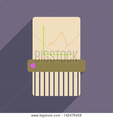 Flat web icon with long  shadow shredder
