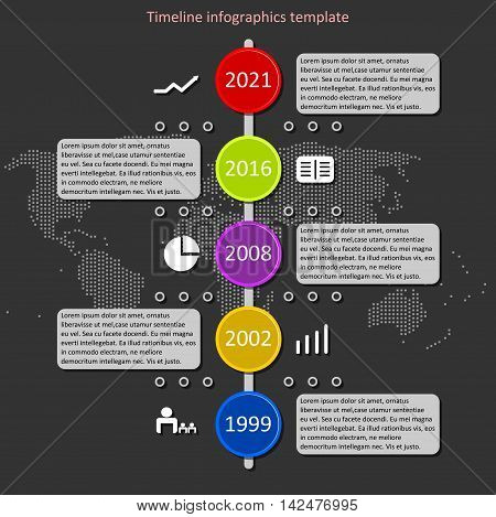 Infographic timeline vector. Company history template. Biggest milestones and events with descriptions and map background