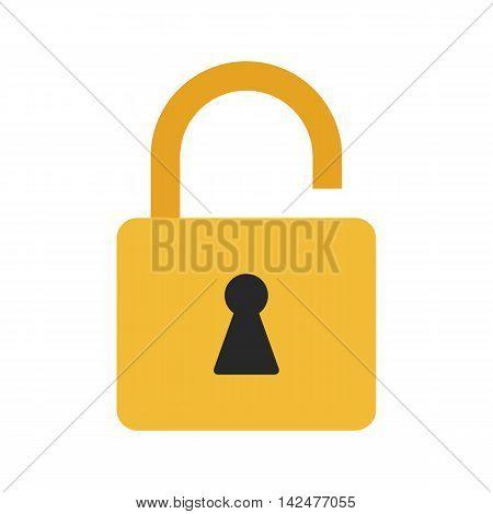 Flat icon unlocked padlock. Lock icon. Vector illustration.