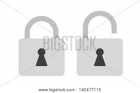 Flat icon locked and unlocked gray padlock. Lock icon. Vector illustration.