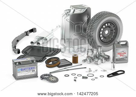set of car parts 3D rendering isolated on white background