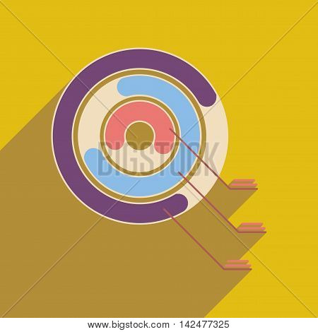 Flat circular web icon with long shadow  diagram