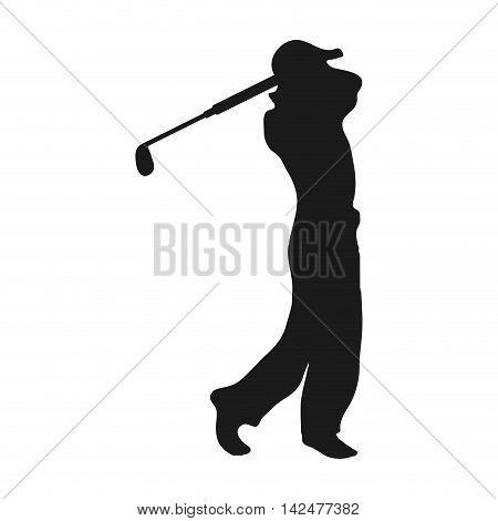 flat design golf player icon vector illustration