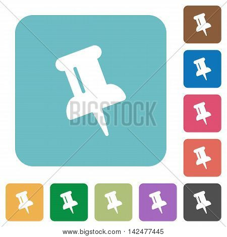 Flat push pin icons on rounded square color backgrounds.