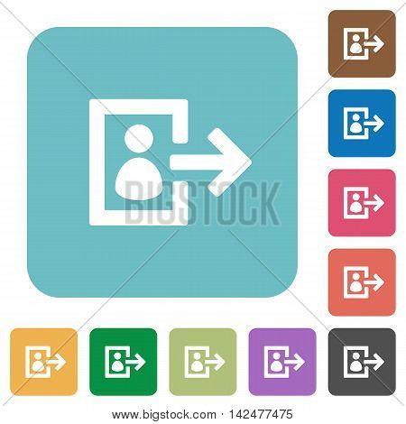 Flat user logout icons on rounded square color backgrounds.