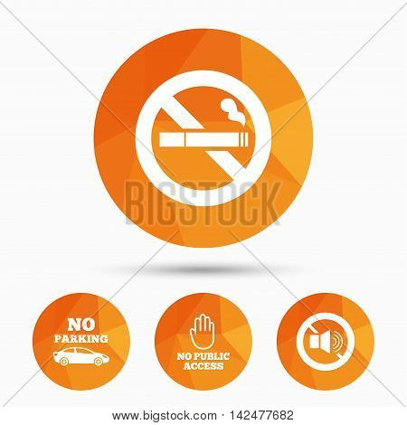 Stop smoking and no sound signs. Private territory parking or public access. Cigarette and hand symbol. Triangular low poly buttons with shadow. Vector