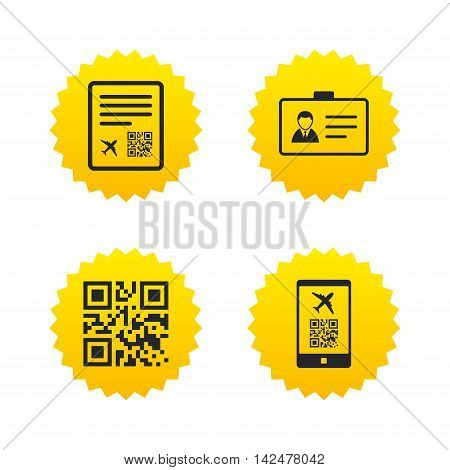 QR scan code in smartphone icon. Boarding pass flight sign. Identity ID card badge symbol. Yellow stars labels with flat icons. Vector