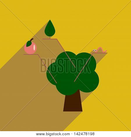 Flat web icon with long  shadow tree infographics, vector