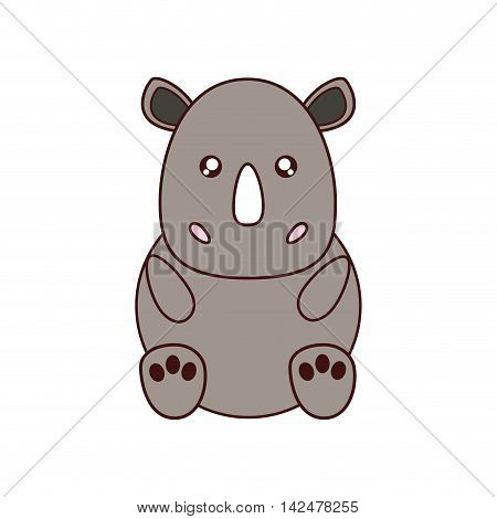 rhino kawaii cute animal little icon. Isolated and flat illustration
