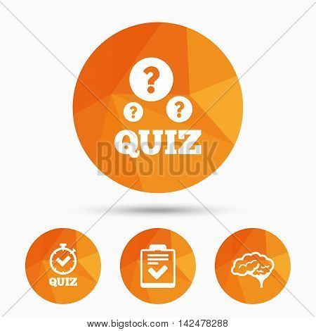 Quiz icons. Human brain think. Checklist and stopwatch timer symbol. Survey poll or questionnaire feedback form sign. Triangular low poly buttons with shadow. Vector